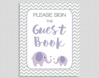Please Sign The Guest Book Printable Sign, Lilac Elephant Baby Shower Sign, Grey Chevron, Neutral, INSTANT DOWNLOAD