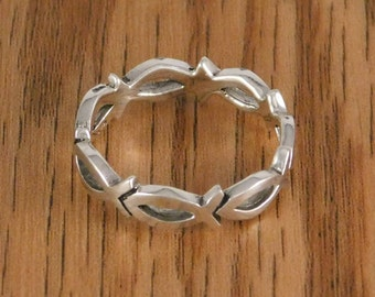 Sterling Silver Ichthus Ring  Christian Fish Ring Jesus fish
