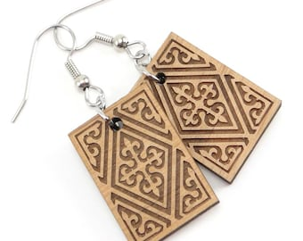 Jewelry angelasline laser engraving celtic wood dangle earrings cross earrings laser cut and engraved jewelry aloadofball Gallery