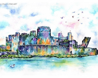 caerphilly castle(4 different sizes to choose at price:  25pound, 30pound, 33.50pound, 65pound)