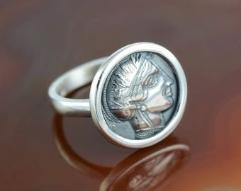 ancient greek coin silver ring, Athena ring, antique coin ring, coin ring, Athena coin ring, ancient coin ring, antique coin, ancient coin