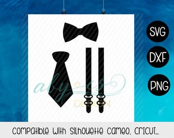 Bow Tie SVG, Suspenders SVG, Necktie SVG, Accessories Man Svg, Png, Dxf, Silhouette, Cricut, Cameo
