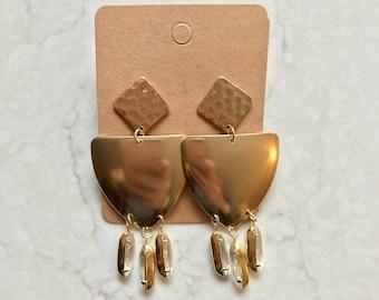 Statement Brass Gold Diamond Crystal Dangle Drop Stud Earrings