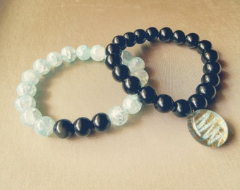 Waves of Coal Bracelet Duo