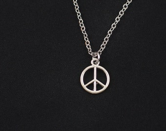 peace sign necklace, sterling silver filled, silver peace sign charm, peace symbol jewelry, peace necklace, love necklace, gift for her