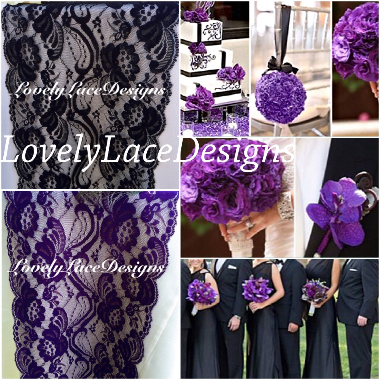Purple & Black Lace Table Runner,3ft-10ft x 7 Wide/Wedding Decor ...