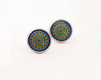 Colorful Stud Earrings - Mandala Stud Earrings - Multicolor Stud Earrings - Mandala Studs - Surgical Steel Earrings - Geometrical Studs
