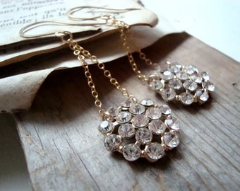 Rhinestone Flower Dangle Earrings Gold Earrings Holiday Bridal Jewelry Weddings New Years Long Dangles Gifts Under 50 Party Prom