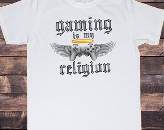 Mens White T-Shirt 'Gaming Is My Religion' Gaming Enthusiast Controller Angel Halo Print TS621