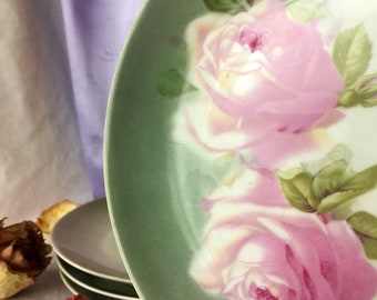 Pink Rose Plates, Set of 4, Z.S and Co. Bavaria, Shabby Chic Pink and Green, Marie Antoinette Tea Party, Mad Hatter Tea, Mix and Match China