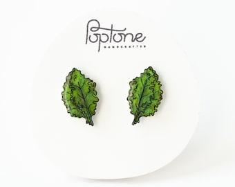 Kale Earrings, kale leaf Studs, vegetable earrings, vegetarian vegan jewelry, vegan gift, veggie food earrings