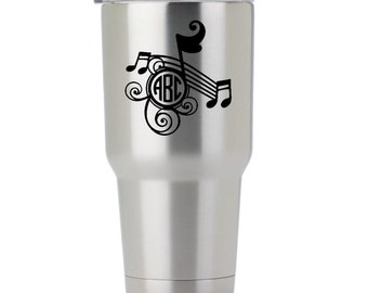 Music Note Monogram - For Band / Chior / Music Lover / Muscian / Adheres to Yeti, Ozark, Arctic, Tumblers, Glass, Car and Laptops