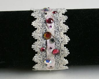 Lace and Ribbon covered in rhinestone Cuff Bracelet