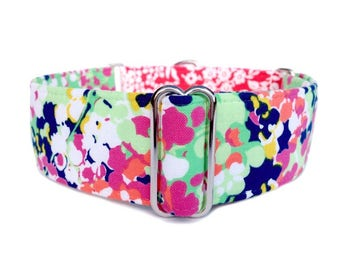 Phoebe's Garden Floral and Damask Martingale Dog Collar or Buckle Collar, Monet Inspired Pink Feminine Flower Collar, Red and White Damask