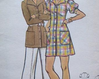 UNCUT Junior Petite Dress, Tunic & Pants  - Size 7 - Butterick Sewing Pattern 3033 - Vintage 1970's