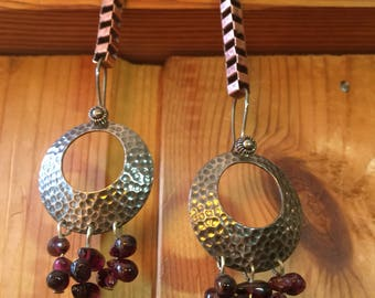 Handmade Earrings with Silver Pounded Hoops & Garnet Stone Dangles