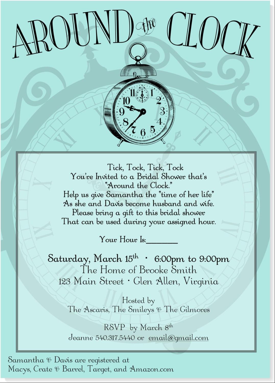Fine Around The Clock Wedding Shower Invitations Component ...