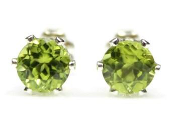 Peridot Earrings Silver Peridot Stud Earrings Peridot Post Earrings Peridot Jewelry Green Gemstone August Birthstone 4MM 6MM Round