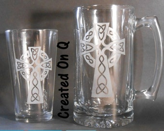 Custom Etched Celtic Cross Beer mug or Pint Glass