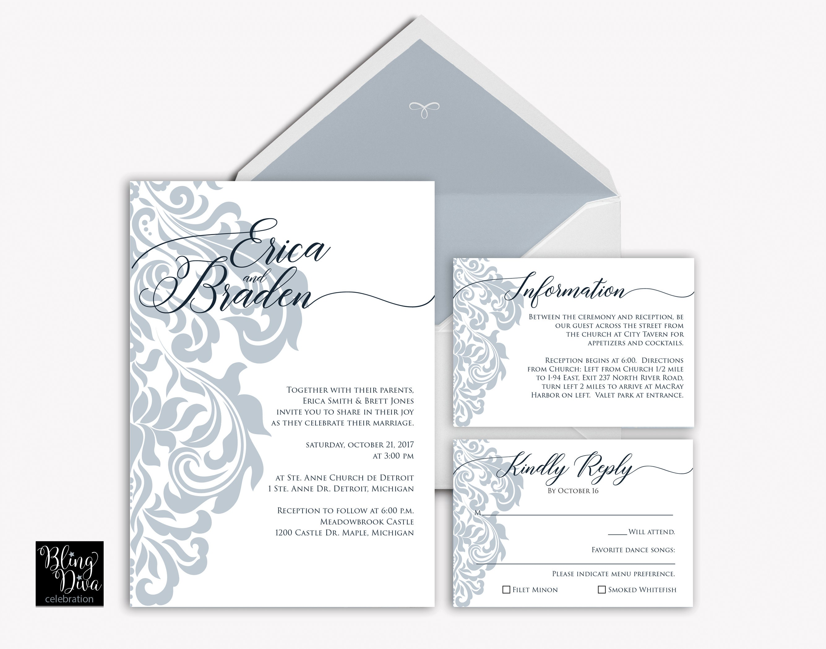 Filigree Wedding Invitation Custom Print Ensemble