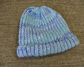 Pretty Blues and White Child's Knit Hat
