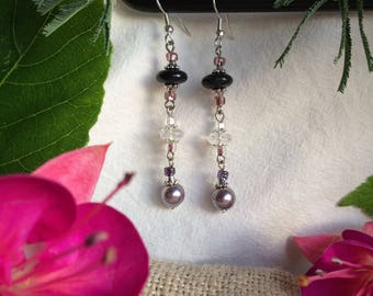Earrings Onyx Purple Sparkle Gemstones Crystals Swarovski Pearls gift