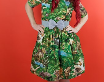 1950's Style Dinosaur Dress,  Rockabilly Dress, Vintage Clothing, Vintage Dress, Retro Clothing, Retro Print, Dinosaur Print, Jurassic Park