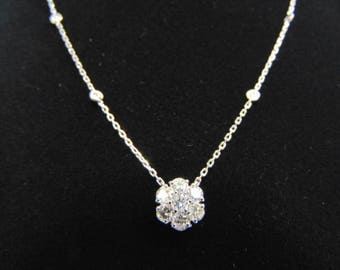 Womens 14K White Gold & Diamond Necklace Pendant 3.5g E3522