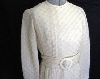 M 60s Creamy White Dress Belted Mod Woven Wool Twiggy Sheath Long Sleeves Mad Men by Parfait Originals Medium