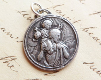 St Christopher Medal - Patron of Travelers, Lifeguards and Against Storms - Sterling Silver Antique Replica