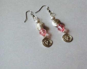 Pink and Silver earrings for pierced ears
