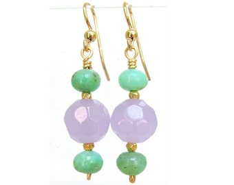 Chrysoprase & Chalcedony Earrings with 14k Gold Filled Findings - Artisan Handmade Jewelry