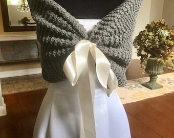 Grey Wedding Shawl/Bridal shawl/wrap/shrug/Fall wedding/winter wedding/rustic wedding