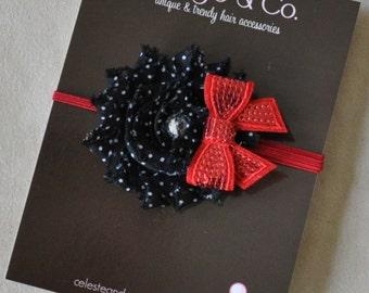 Christmas Headband - Infant Headband _ holiday Headband - Baby Headband - Toddler Headband Black Red Bow