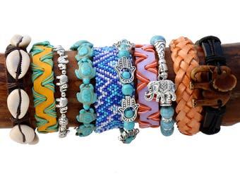 Boho Bracelet Set Gypsy Jewelry Hippie Bracelets Collection Turquoise Bracelet Cowrie Shells Leather Bracelet Turtle Beads Elephant Charms