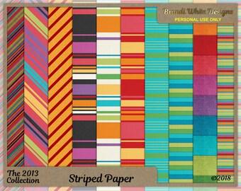 Digital Stripe Backgrounds, Striped Paper, Scrapbook Backgrounds, Printable Paper