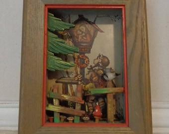 Vintage Anri 3D Hummel shadow box, by Emil Fink Verlag, Germany, wooden hummel 3d print
