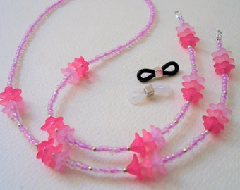 "Girls Eyeglass Chain Strap  22"" ∫ Pink Lilies Glasses Lanyard ∫ Eyeglasses Holder Cord ∫ Childrens Eyewear Chains ∫ Sunglasses Reading Glass"