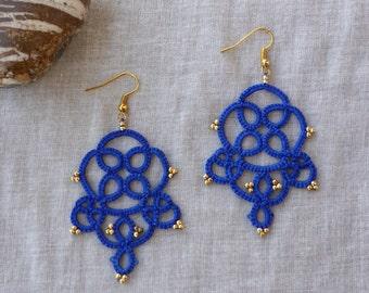 Tatted blue lace earrings , lace jewelry , boho earrings , frivolite , tatted jewelry , tatting lace , handmade earrings