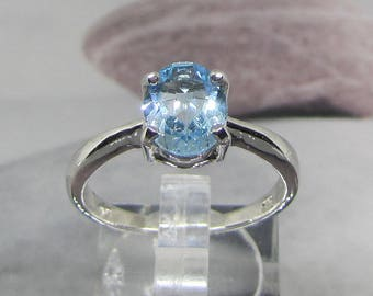 Oval Blue Topaz 925 sterling silver ring size 57