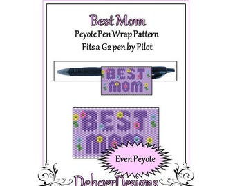 Peyote Beading Pattern (Pen Wrap/Cover)-Best Mom