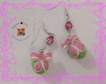 Green polymer clay Easter egg earrings
