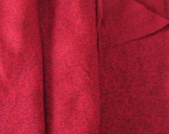 Red Heathered Sweater Knit Fabric With Black Stretch Knit 1.44 Yards x 59 Inches Wide