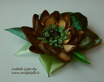 Handmade golden-brown-green satin flower brooch, flower clip & pin, embroidered flower