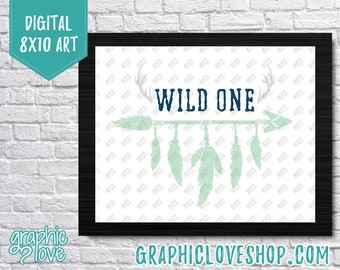 Printable 8x10 Wild ONE Arros and Feathers Navy Blue and Mint Digital Art Print | High Resolution JPG File, Instant Download, Ready to Print
