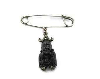 Black Smiling Buddha Pin/ Feng shui Buddha Kilt Pin/ Hotei Seven Immortals Tie Pin/ Seven gods of Fortune Rhinestone Silver tone  Pin