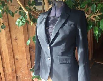 Small womens black dress coat// formal black blazer//button down jacket