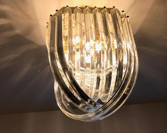 Vintage Hollywood Regency Brass Gold Lucite Ribbon Loop Chandelier