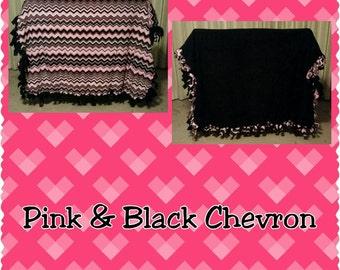 Black and Pink Chevron Fleece Blanket