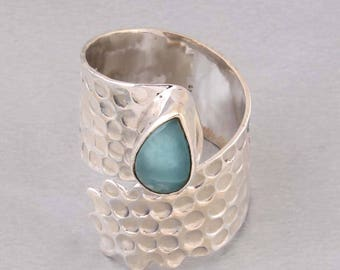 Silver Ring 925 sterling silver ring with larimar gemstone  # adjustabel size 6,7,8